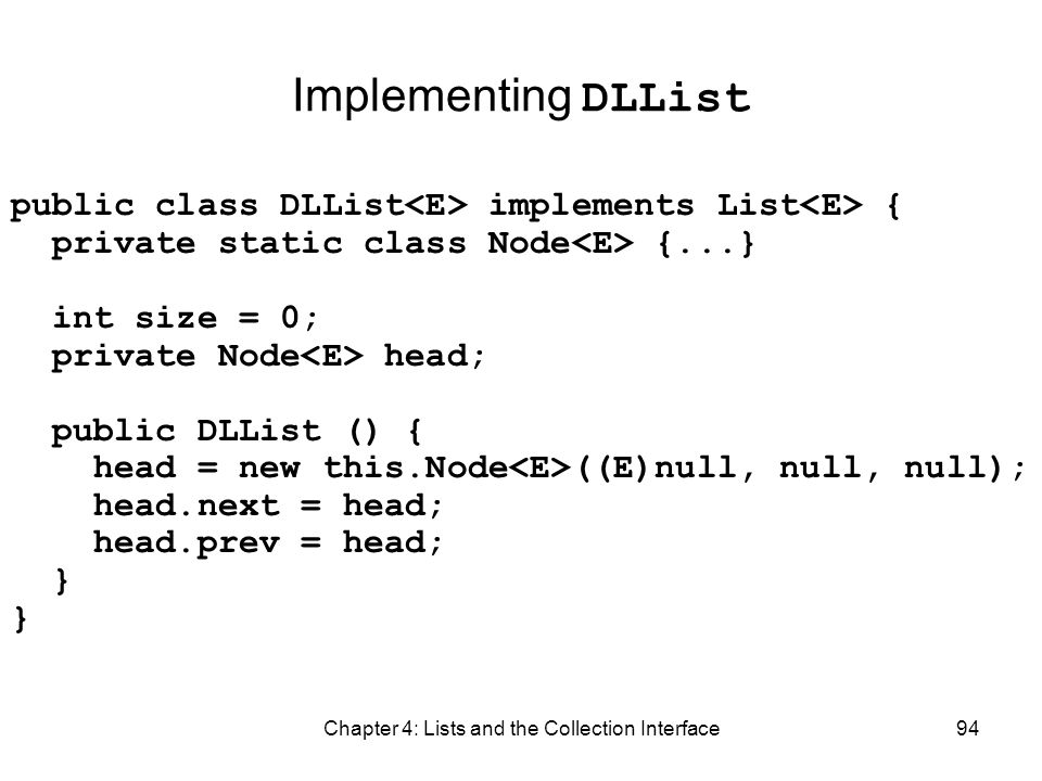 Chapter 4: Lists and the Collection Interface94 Implementing DLList public class DLList implements List { private static class Node {...} int size = 0