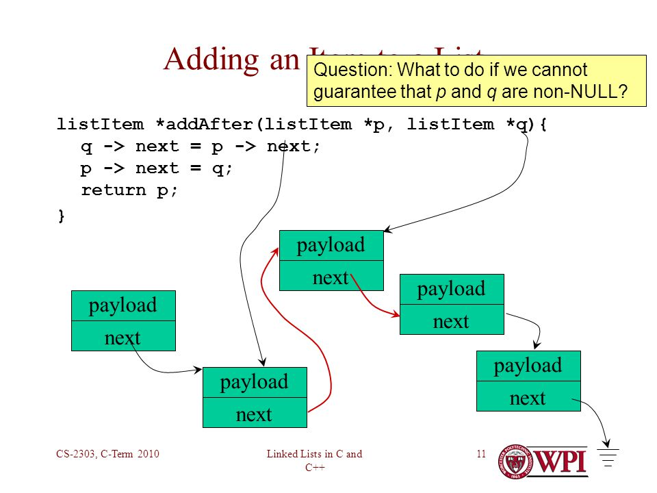 Linked Lists in C and C++ CS-2303, C-Term 201011 Adding an Item to a List listItem *addAfter(listItem *p, listItem *q){ q -> next = p -> next; p -> next = q; return p; } payload next payload next payload next payload next payload next Question: What to do if we cannot guarantee that p and q are non-NULL