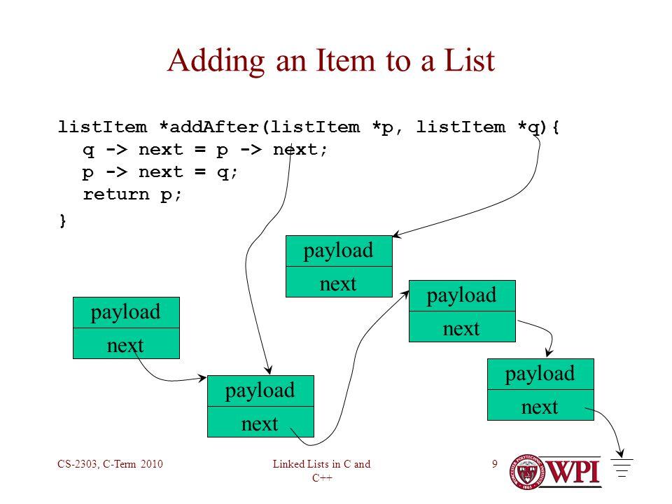 Linked Lists in C and C++ CS-2303, C-Term 201010 Adding an Item to a List listItem *addAfter(listItem *p, listItem *q){ q -> next = p -> next; p -> next = q; return p; } payload next payload next payload next payload next payload next
