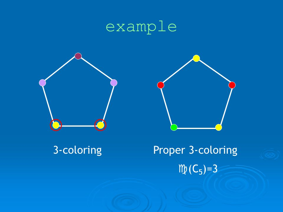 example 3-coloringProper 3-coloring (C 5 )=3
