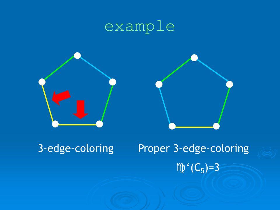 example 3-edge-coloringProper 3-edge-coloring (C 5 )=3