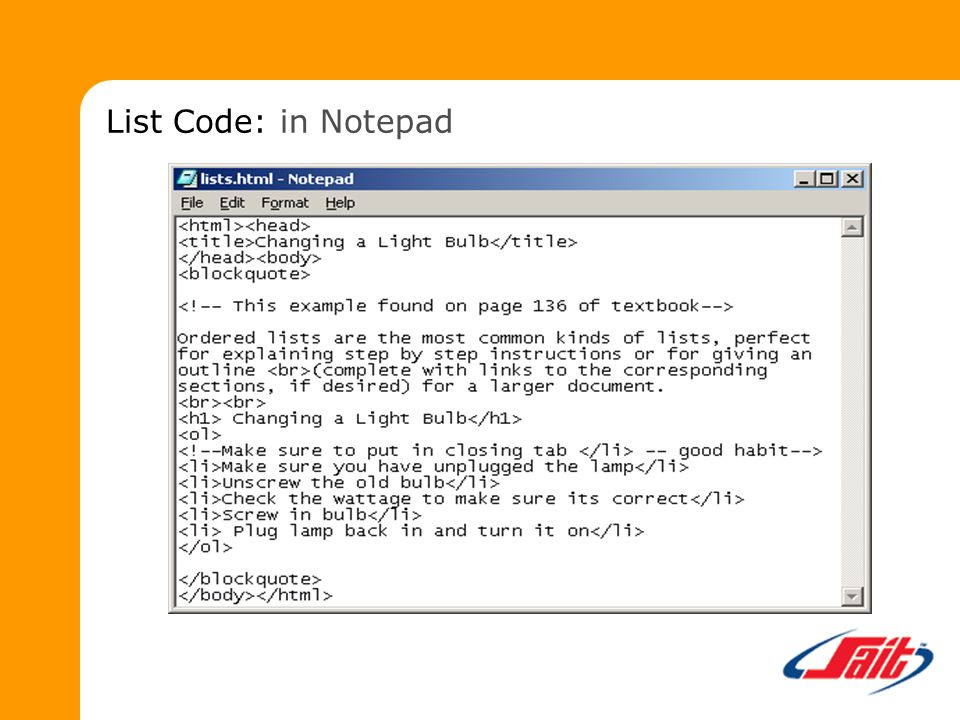 List Code: in Notepad