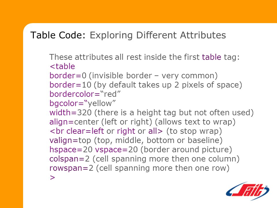 These attributes all rest inside the first table tag: (to stop wrap) valign=top (top, middle, bottom or baseline) hspace=20 vspace=20 (border around picture) colspan=2 (cell spanning more then one column) rowspan=2 (cell spanning more then one row) > Table Code: Exploring Different Attributes