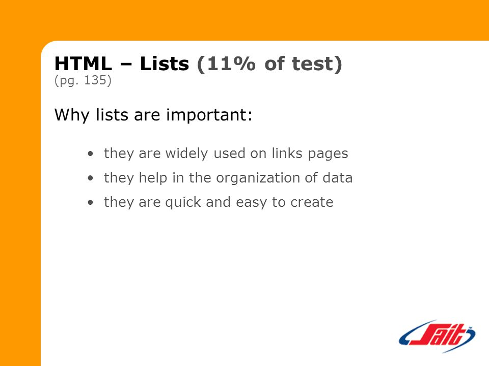 HTML – Lists (11% of test) (pg.