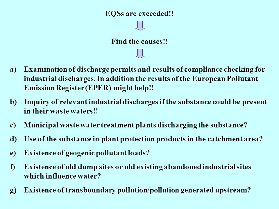 EQSs are exceeded!. Find the causes!.