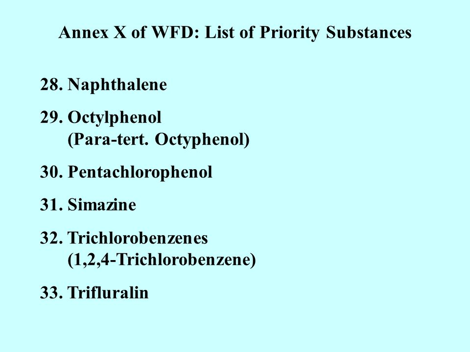 Annex X of WFD: List of Priority Substances 28. Naphthalene 29.