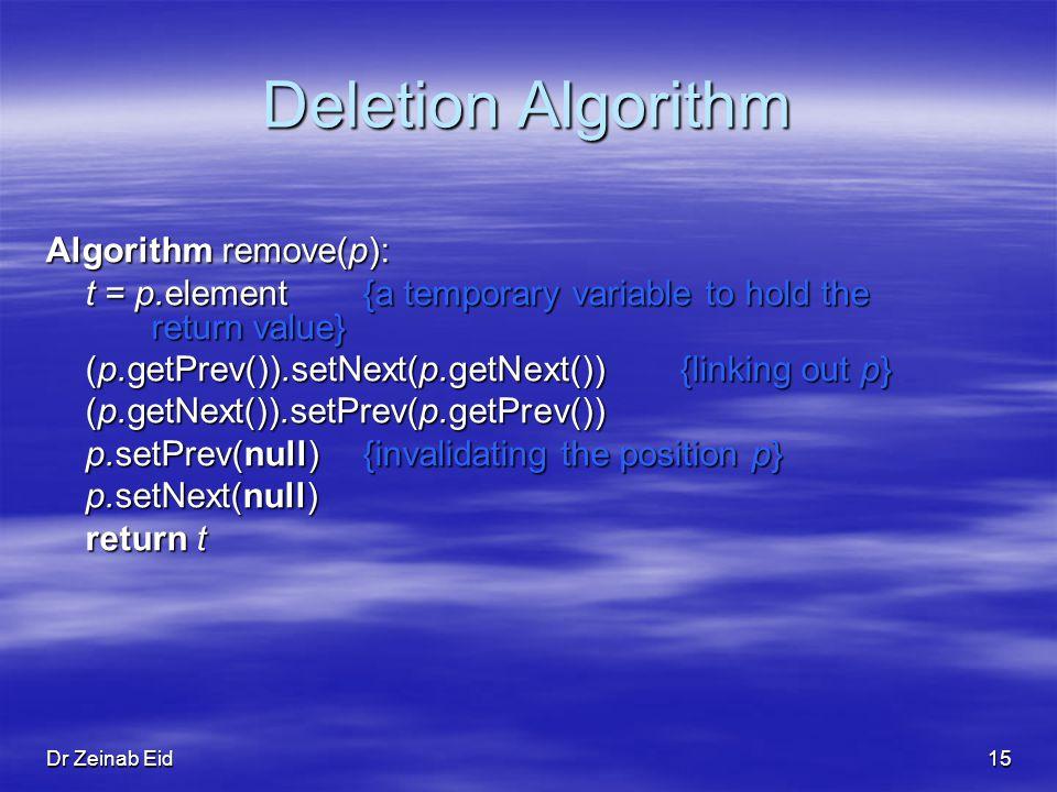 Dr Zeinab Eid15 Deletion Algorithm Algorithm remove(p): t = p.element{a temporary variable to hold the return value} (p.getPrev()).setNext(p.getNext()){linking out p} (p.getNext()).setPrev(p.getPrev()) p.setPrev(null){invalidating the position p} p.setNext(null) return t