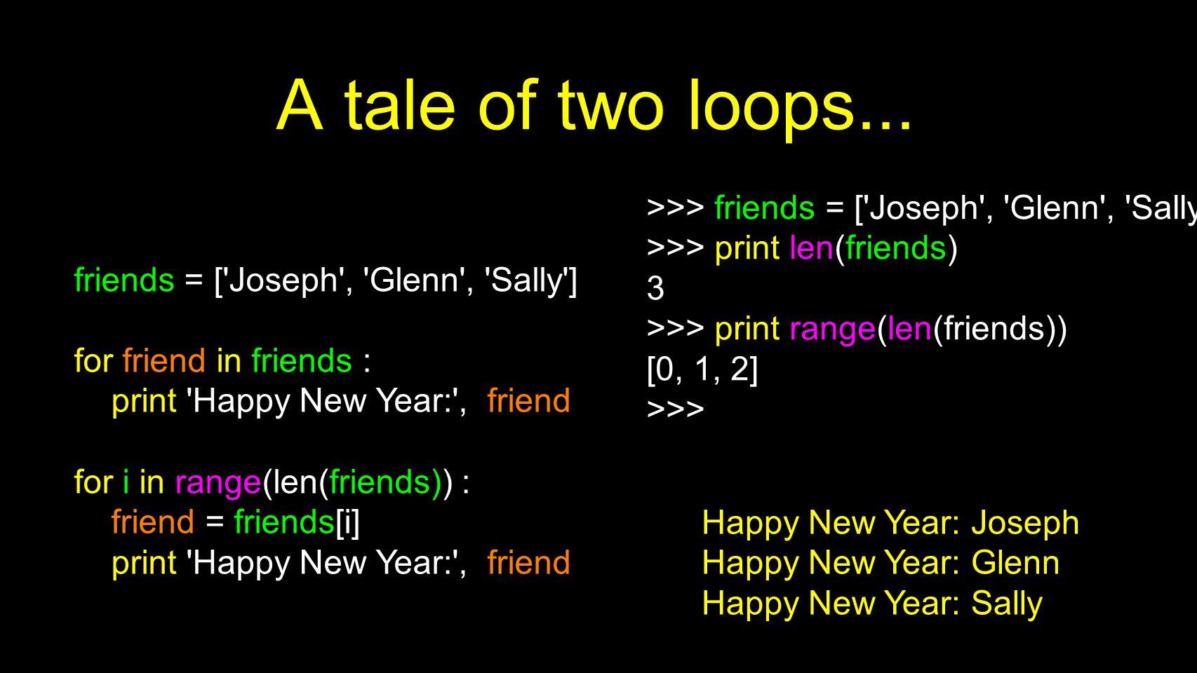 A tale of two loops... friends = ['Joseph', 'Glenn', 'Sally'] for friend in friends : print 'Happy New Year:', friend for i in range(len(friends)) : f