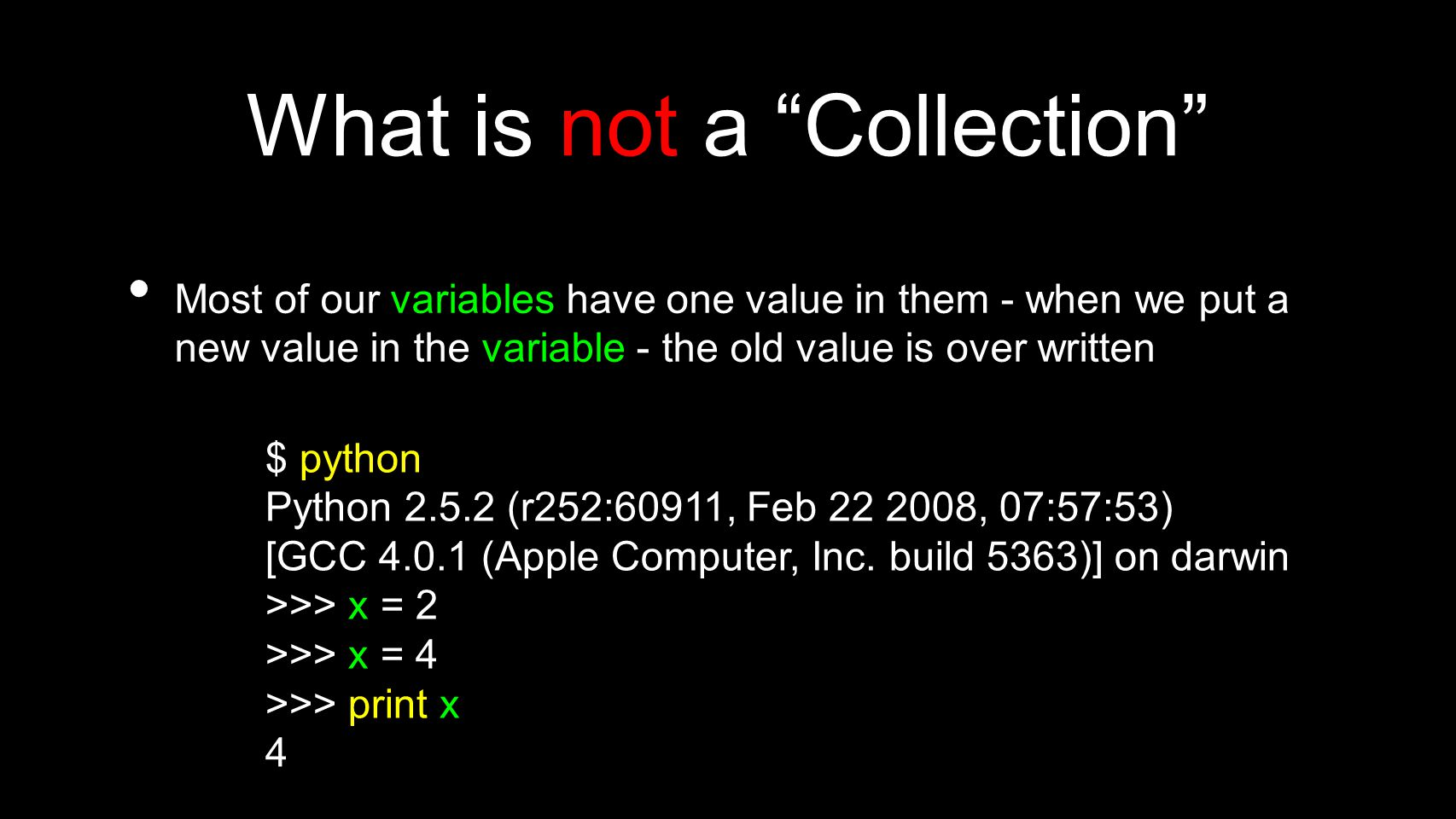 List Methods >>> x = list() >>> type(x) >>> dir(x)[ append , count , extend , index , insert , pop , remove , reverse , sort ] >>> http://docs.python.org/tutorial/datastructures.html