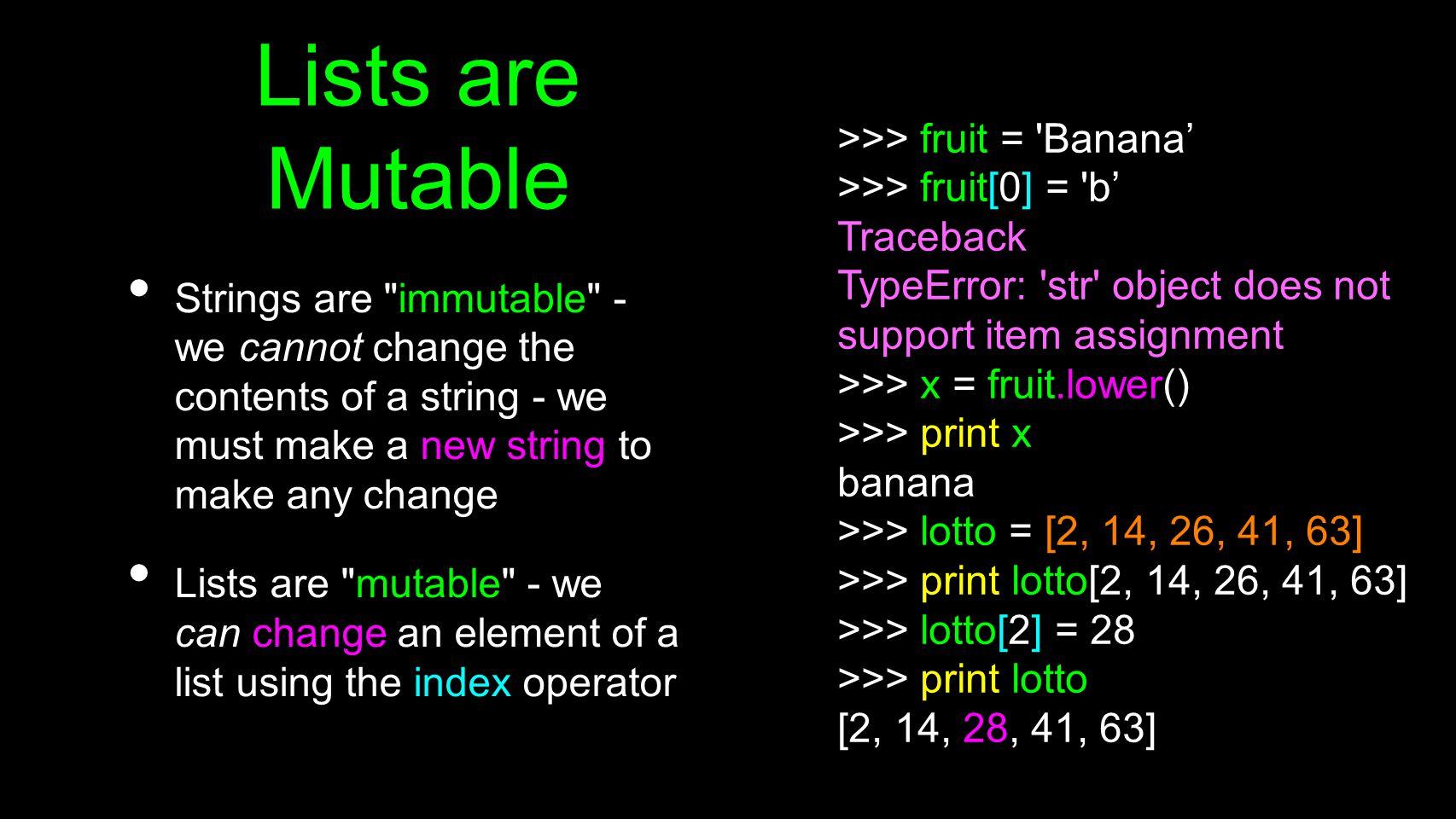 numlist = list() while True : inp = raw_input( Enter a number: ) if inp == done : break value = float(inp) numlist.append(value) average = sum(numlist) / len(numlist) print Average: , average total = 0 count = 0 while True : inp = raw_input( Enter a number: ) if inp == done : break value = float(inp) total = total + value count = count + 1 average = total / count print Average: , average Enter a number: 3 Enter a number: 9 Enter a number: 5 Enter a number: done Average: 5.66666666667