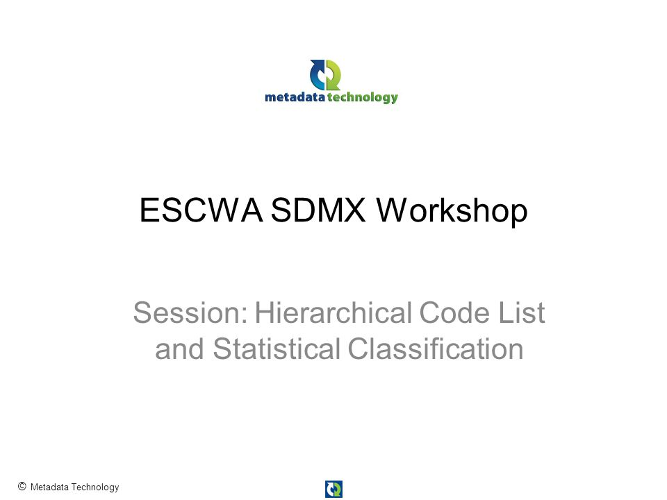 © Metadata Technology ESCWA SDMX Workshop Session: Hierarchical Code List and Statistical Classification