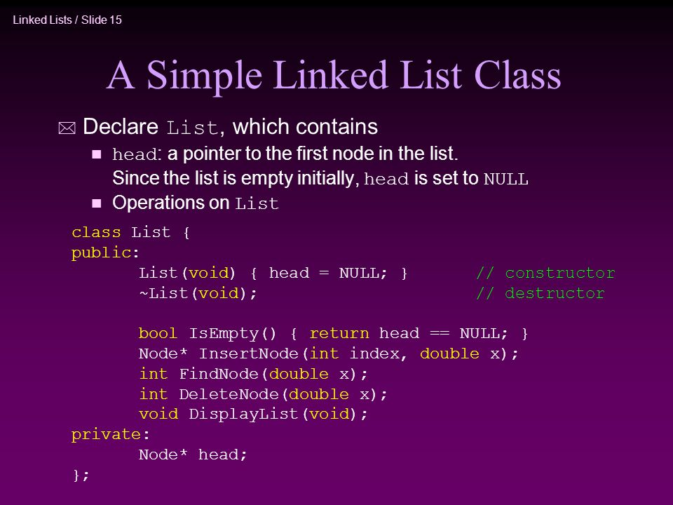 Linked Lists / Slide 15 A Simple Linked List Class Declare List, which contains head : a pointer to the first node in the list. Since the list is empt