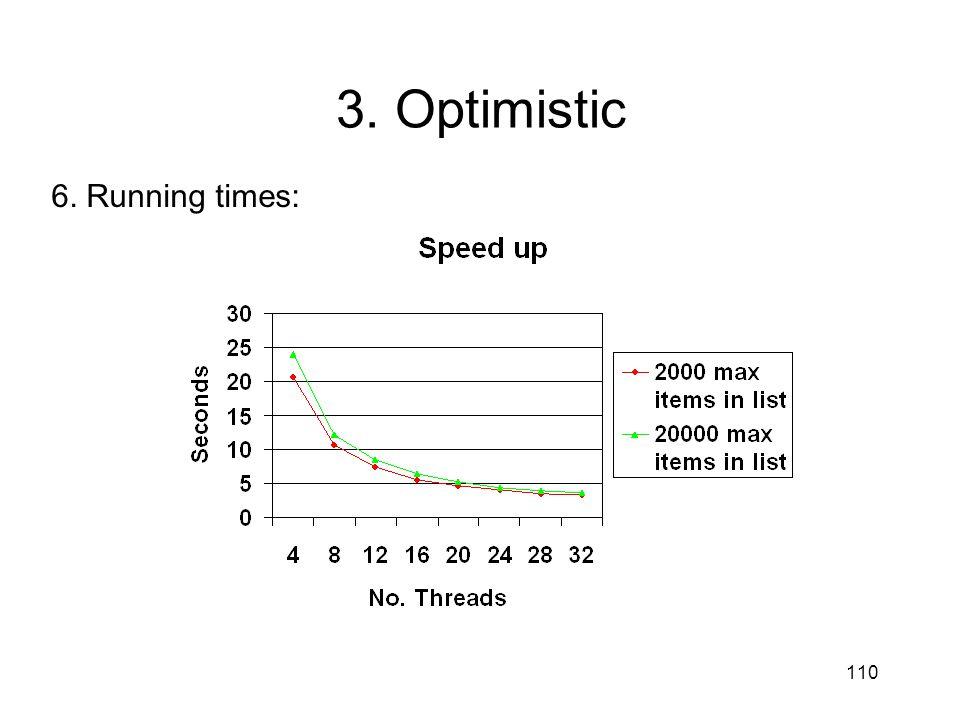 110 6. Running times: 3. Optimistic