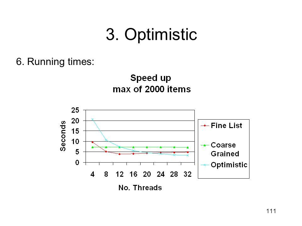 111 6. Running times: 3. Optimistic