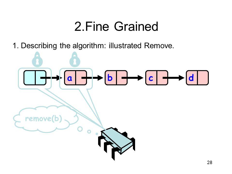 28 abcd remove(b) 2.Fine Grained 1. Describing the algorithm: illustrated Remove.