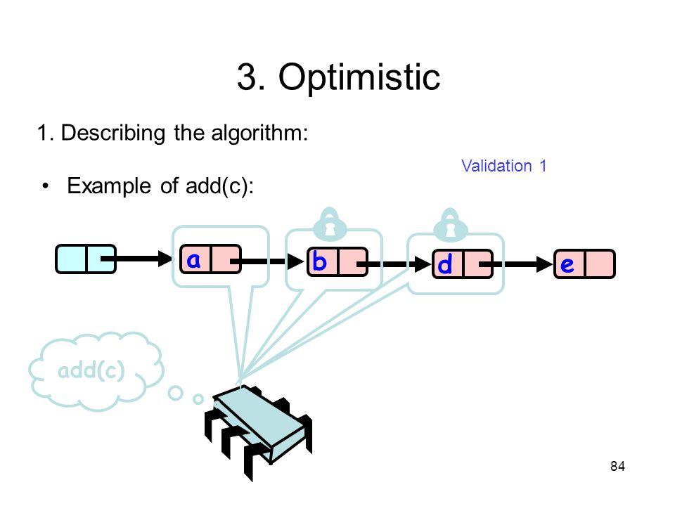 84 b d e a add(c) 1. Describing the algorithm: Validation 1 Example of add(c): 3. Optimistic