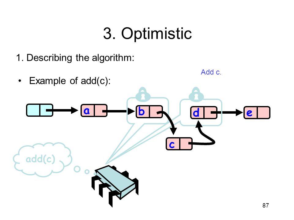 87 b d e a add(c) c 3. Optimistic 1. Describing the algorithm: Add c. Example of add(c):