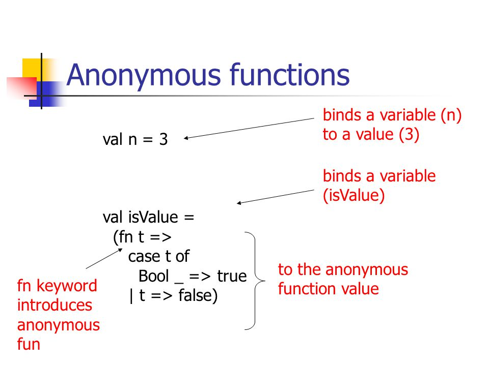 Anonymous functions val n = 3 val isValue = (fn t => case t of Bool _ => true | t => false) binds a variable (n) to a value (3) binds a variable (isValue) to the anonymous function value fn keyword introduces anonymous fun