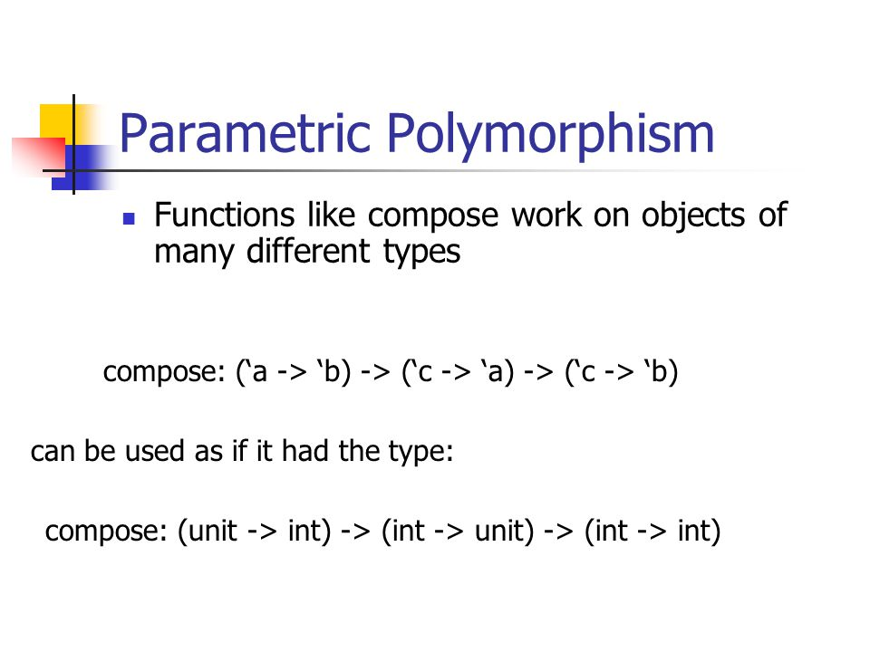 Parametric Polymorphism Functions like compose work on objects of many different types compose: (a -> b) -> (c -> a) -> (c -> b) compose: (unit -> int) -> (int -> unit) -> (int -> int) can be used as if it had the type: