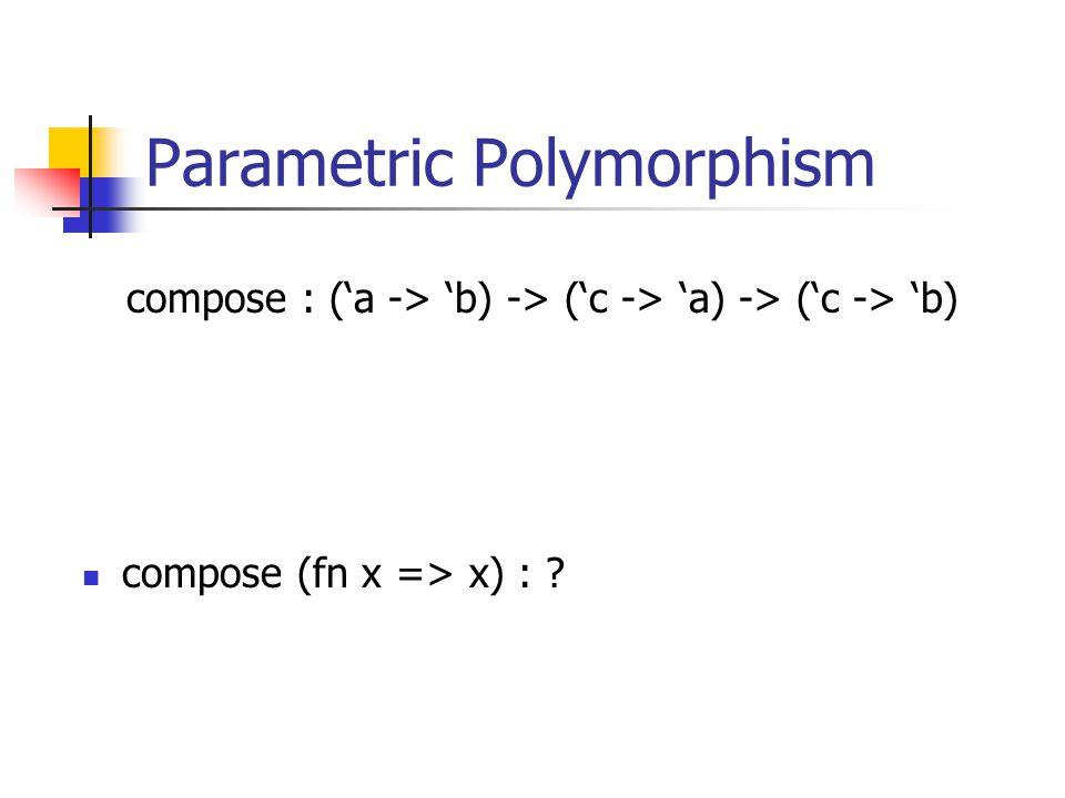 Parametric Polymorphism compose (fn x => x) : compose : (a -> b) -> (c -> a) -> (c -> b)