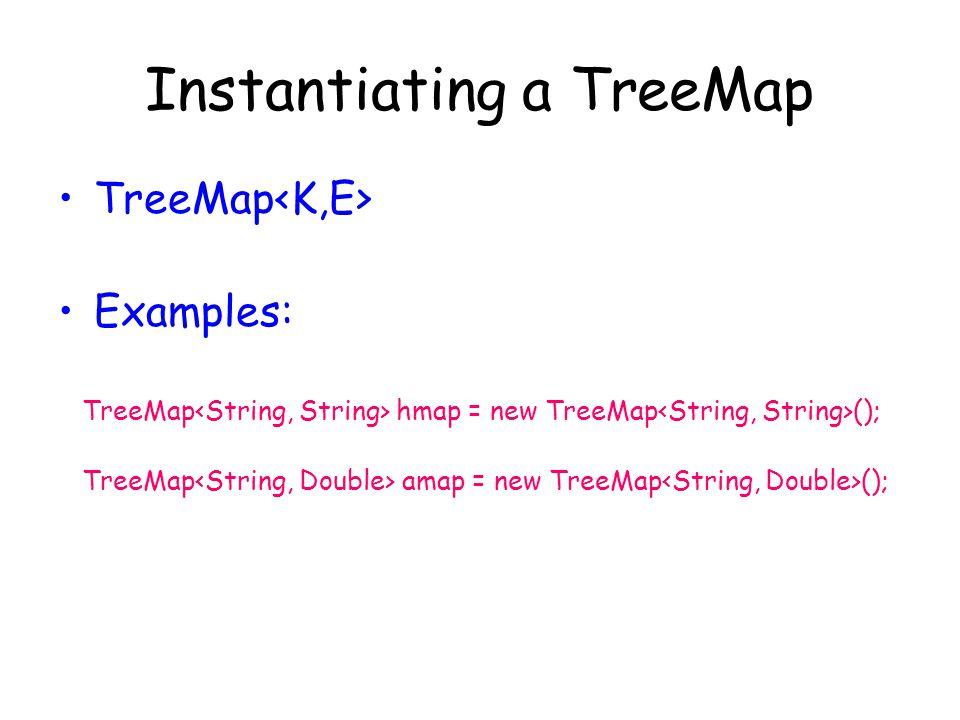 Instantiating a TreeMap TreeMap Examples: TreeMap hmap = new TreeMap (); TreeMap amap = new TreeMap ();