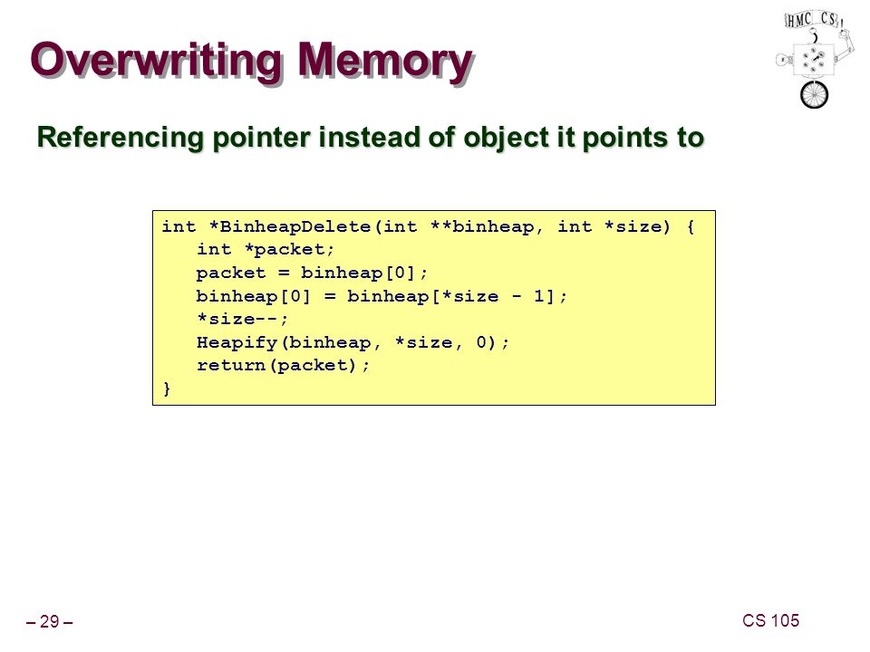 – 29 – CS 105 Overwriting Memory Referencing pointer instead of object it points to int *BinheapDelete(int **binheap, int *size) { int *packet; packet