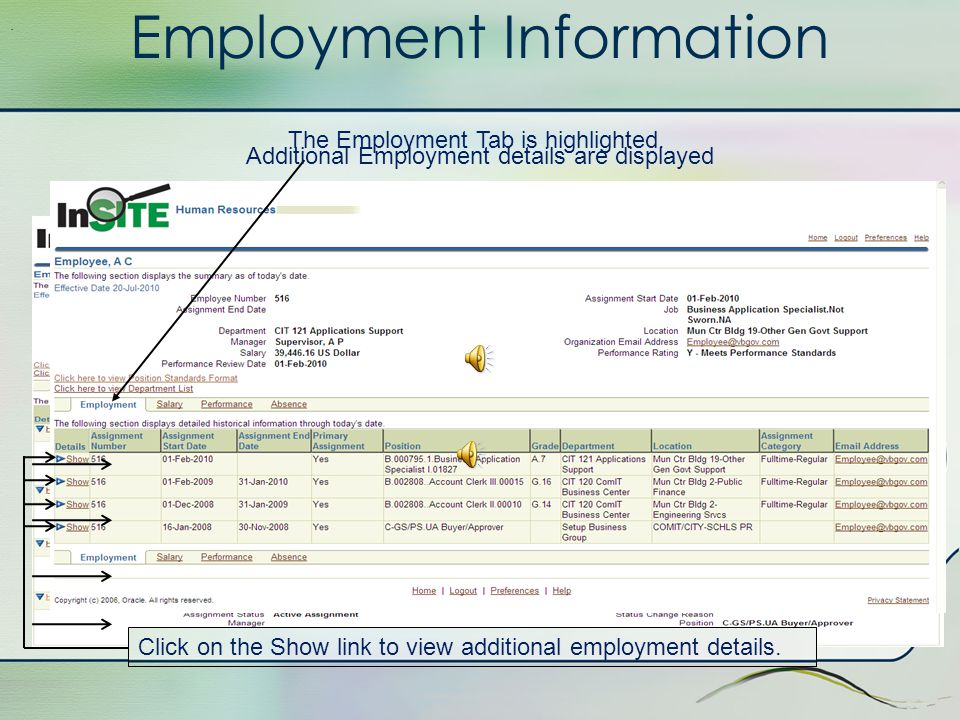 Employment Information Next, we will follow the information for one particular employee: A Employee.