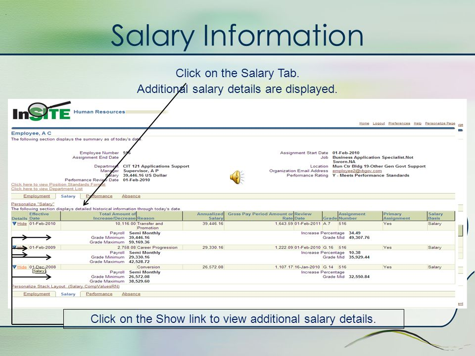 Employment Information The Employment Tab is highlighted..