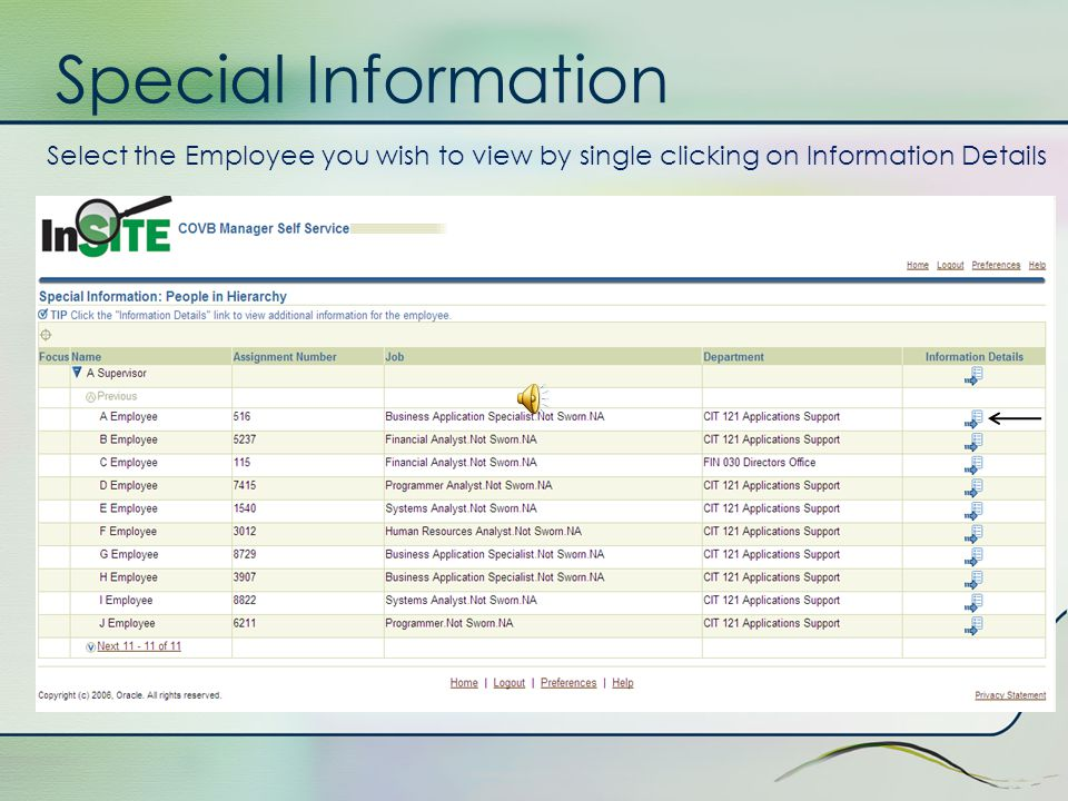 Special Information The Special Information form allows managers to view employees data such as alpha status, city equipment that has been distributed