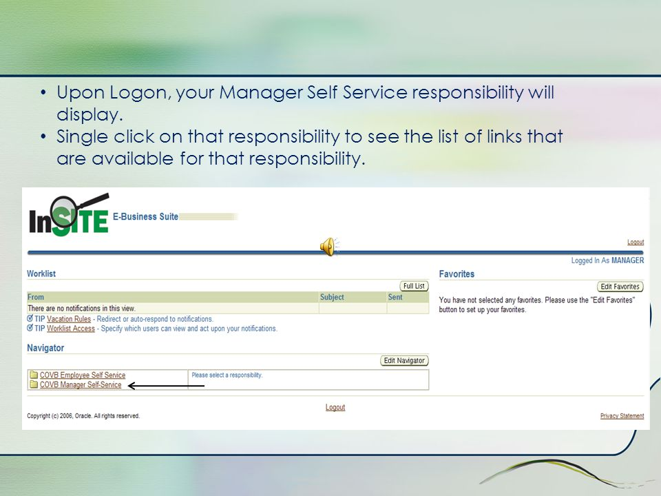 Manager Self Service Responsibility