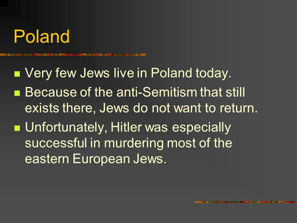 Poland Very few Jews live in Poland today. Because of the anti-Semitism that still exists there, Jews do not want to return. Unfortunately, Hitler was
