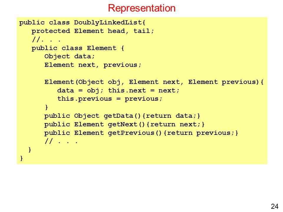 24 Representation public class DoublyLinkedList{ protected Element head, tail; //... public class Element { Object data; Element next, previous; Eleme