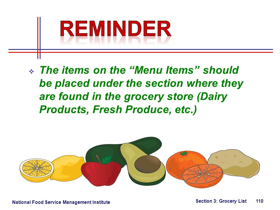 National Food Service Management Institute The items on the Menu Items should be placed under the section where they are found in the grocery store (Dairy Products, Fresh Produce, etc.) Section 3: Grocery List 110