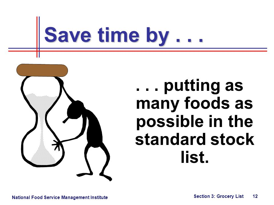 National Food Service Management Institute Section 3: Grocery List 12 Save time by......