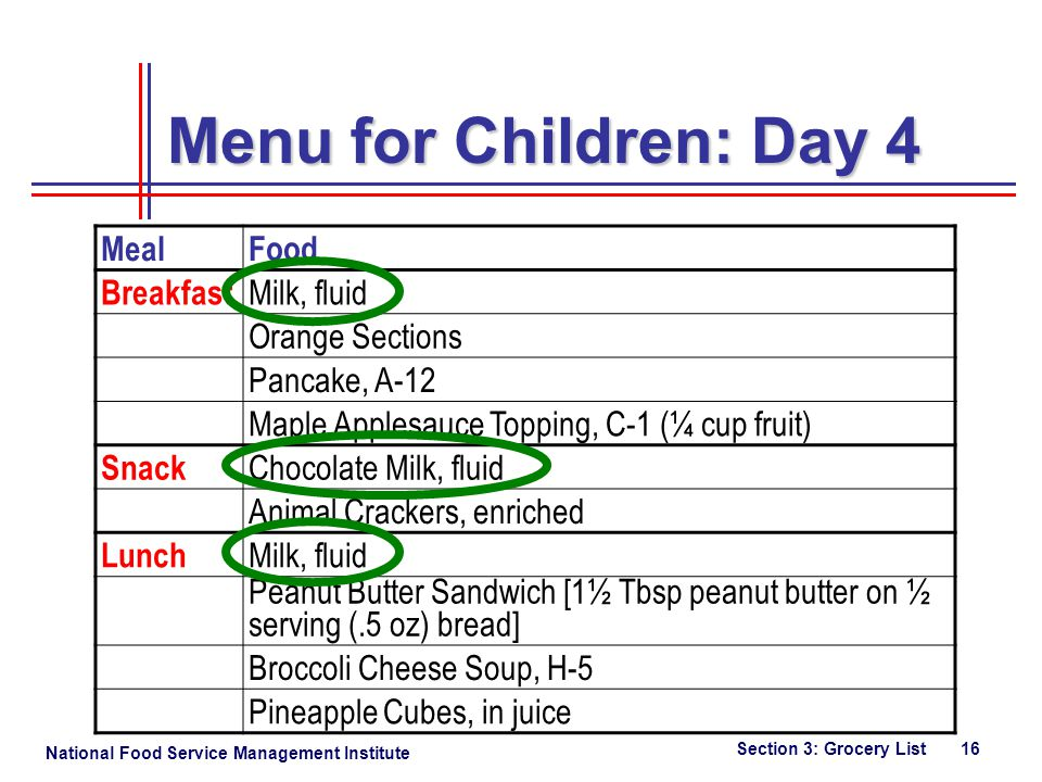 National Food Service Management Institute Section 3: Grocery List 16 Menu for Children: Day 4 MealFood Breakfast Milk, fluid Orange Sections Pancake, A-12 Maple Applesauce Topping, C-1 (¼ cup fruit) Snack Chocolate Milk, fluid Animal Crackers, enriched Lunch Milk, fluid Peanut Butter Sandwich [1½ Tbsp peanut butter on ½ serving (.5 oz) bread] Broccoli Cheese Soup, H-5 Pineapple Cubes, in juice