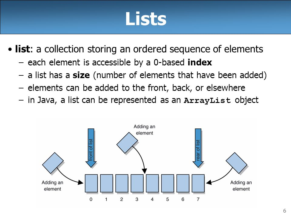 7 Idea of a list Rather than creating an array of boxes, create an object that represents a list of items.