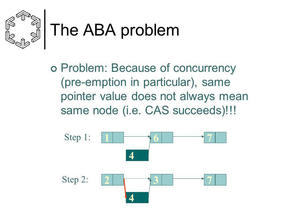 The ABA problem Problem: Because of concurrency (pre-emption in particular), same pointer value does not always mean same node (i.e.