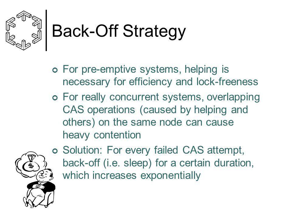 Back-Off Strategy For pre-emptive systems, helping is necessary for efficiency and lock-freeness For really concurrent systems, overlapping CAS operations (caused by helping and others) on the same node can cause heavy contention Solution: For every failed CAS attempt, back-off (i.e.
