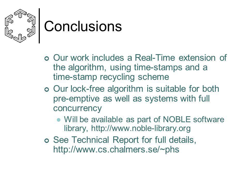 Conclusions Our work includes a Real-Time extension of the algorithm, using time-stamps and a time-stamp recycling scheme Our lock-free algorithm is s