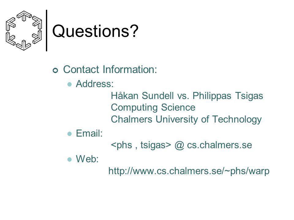 Questions. Contact Information: Address: Håkan Sundell vs.