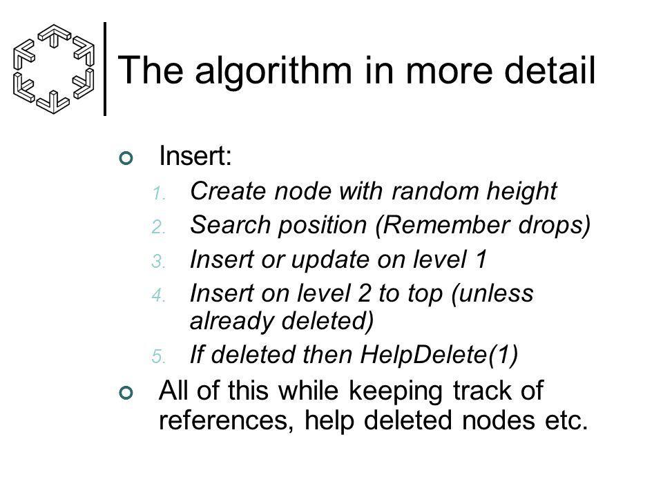 The algorithm in more detail Insert: 1. Create node with random height 2. Search position (Remember drops) 3. Insert or update on level 1 4. Insert on