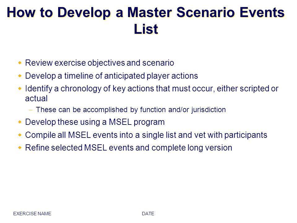 DATE EXERCISE NAME Americana Master Scenario Events List