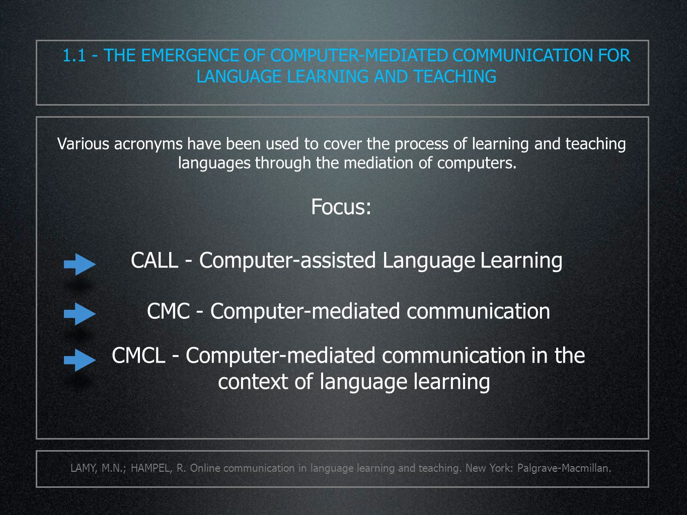 Various acronyms have been used to cover the process of learning and teaching languages through the mediation of computers.
