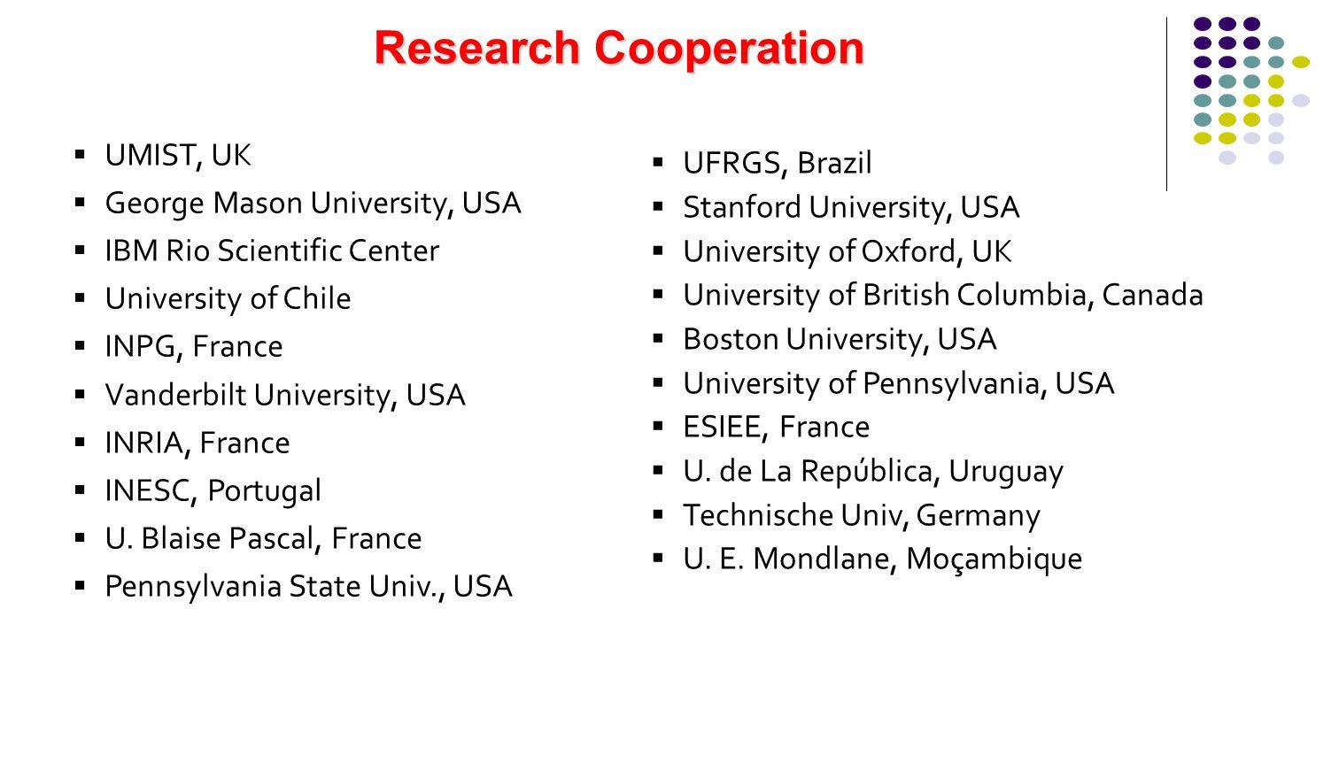 Research Cooperation UMIST, UK George Mason University, USA IBM Rio Scientific Center University of Chile INPG, France Vanderbilt University, USA INRI