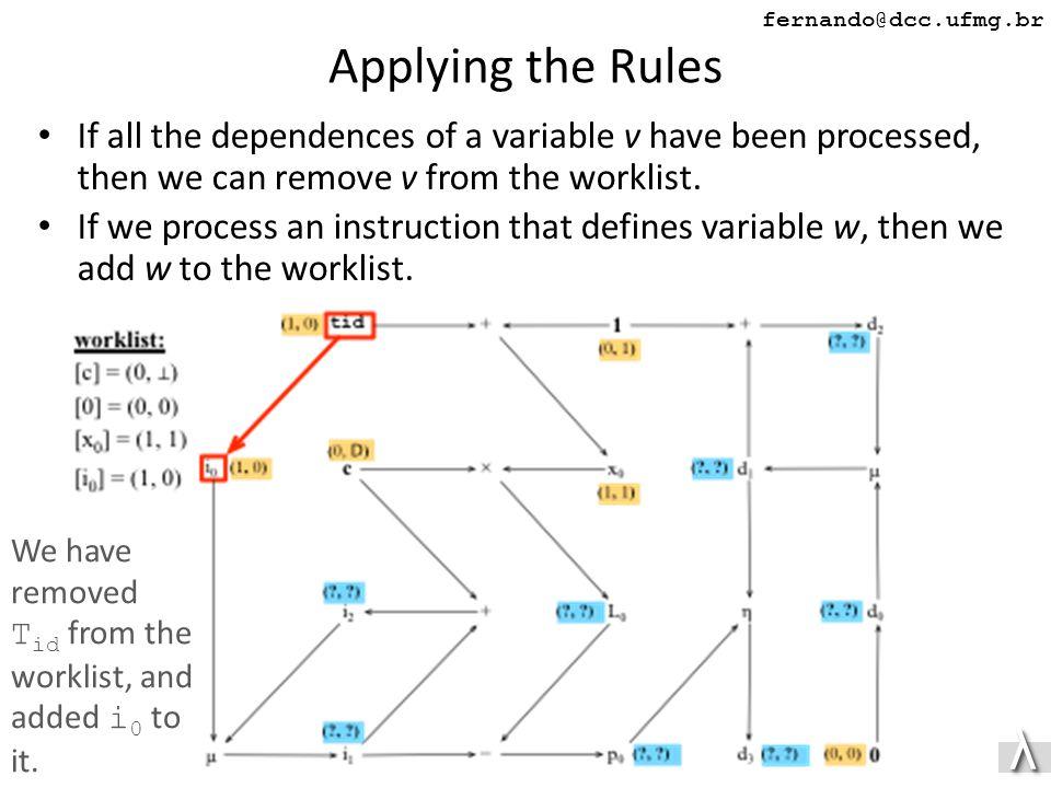 λλ fernando@dcc.ufmg.br Applying the Rules If all the dependences of a variable v have been processed, then we can remove v from the worklist.