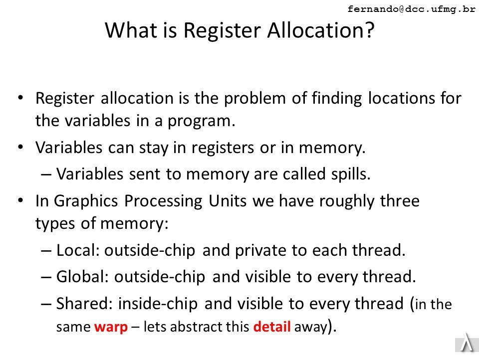 λλ fernando@dcc.ufmg.br What is Register Allocation.