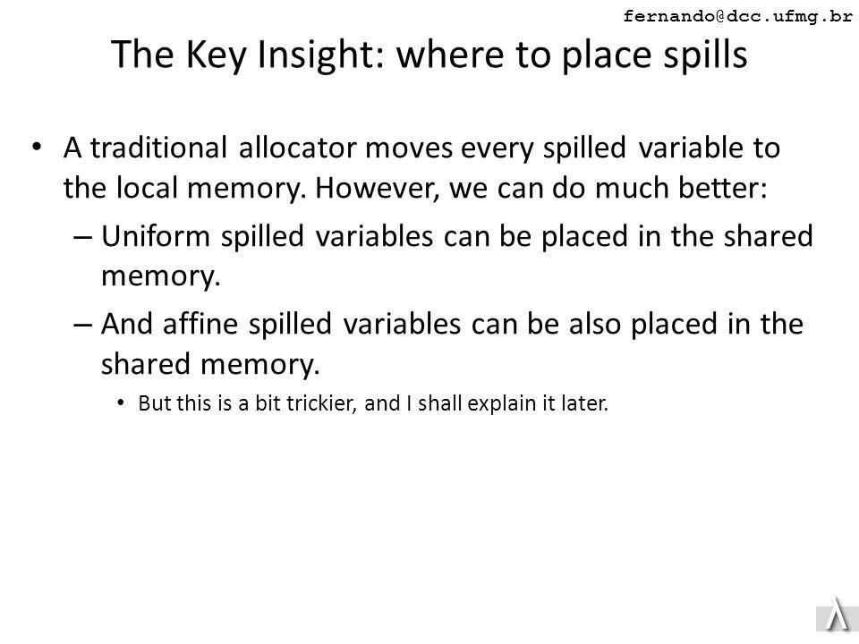 λλ fernando@dcc.ufmg.br The Key Insight: where to place spills A traditional allocator moves every spilled variable to the local memory.