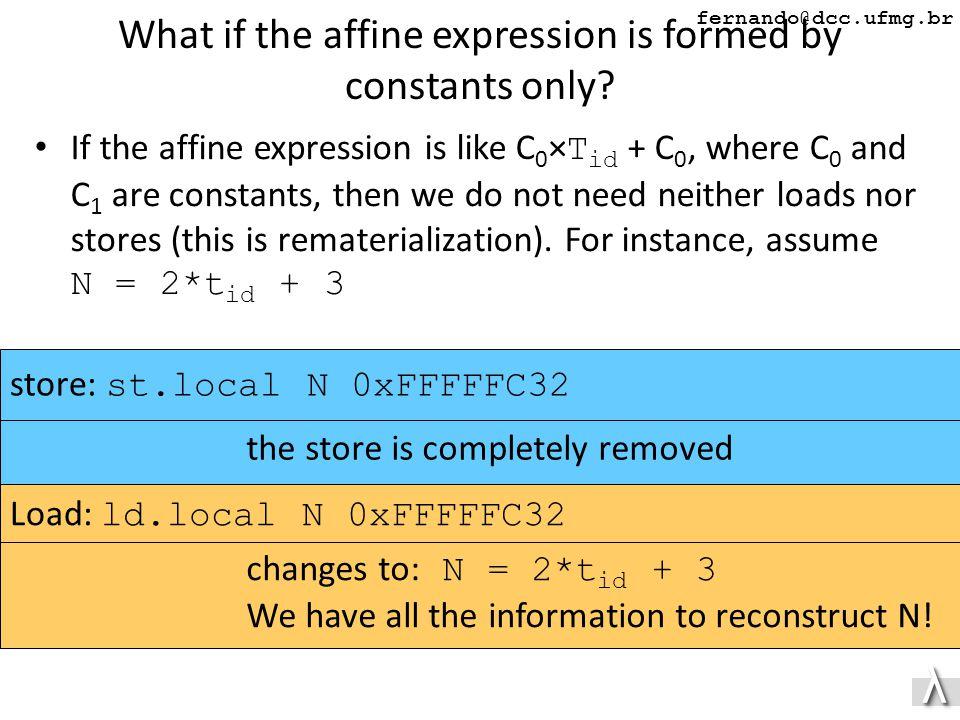 λλ fernando@dcc.ufmg.br What if the affine expression is formed by constants only.