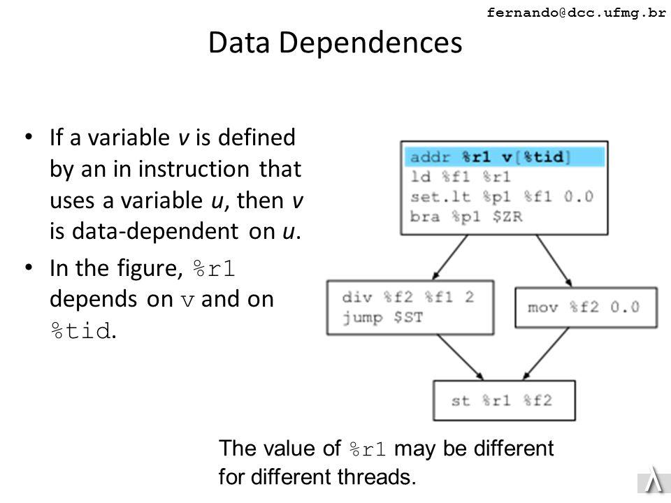 λλ fernando@dcc.ufmg.br Data Dependences If a variable v is defined by an in instruction that uses a variable u, then v is data-dependent on u.