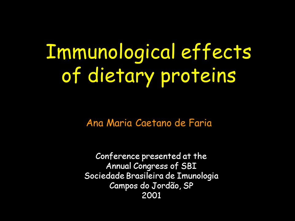 Immunological effects of dietary proteins Conference presented at the Annual Congress of SBI Sociedade Brasileira de Imunologia Campos do Jordão, SP 2001 Ana Maria Caetano de Faria